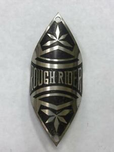antique NOS  ROUGH RIDER bicycle HEAD BADGE tag emblem