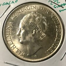1944 NETHERLANDS CURACAO SILVER 2 1/2 GULDENS UNCIRCULATED CROWN COIN