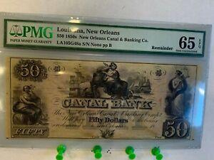 1850's $50  PMG 65 EPQ GEM UNC  Louisiana, New Orleans,  Canal Bank  Remainder
