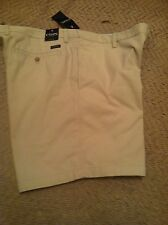 Chaps Men Flat Front  Shorts Size 42, Beige Color, 100% Cotton Retail  $60.00,