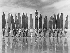 Vintage Surf Photo Beach Surfing Boards Black White Print for Glass Frame 36""