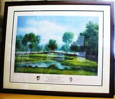 DUEL SIGNED GOLF PRINT ARNOLD PALMER DONALD MOSS CHERRY HILLS 12th 1960 US.OPEN