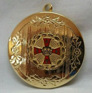 Eastern Star Freemason Women's Gold Tone Locket Necklace Excellent Condition