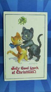 Saucy Donald McGill Comic Postcard 1910's Black Cat JOLLY GOOD LUCK AT CHRISTMAS