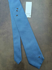 """PAUL SMITH """"THE BRITISH COLLECTION"""" BLUE SILK TIE WITH EMBROIDERED BEETLES/BUGS"""
