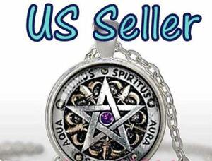 NEW Pentagram Wiccan Cabochon Tibetan silver Glass Chain Pendant Necklace