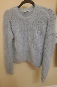 Juniors Candies Soft Fuzzy Blue Sweater Medium