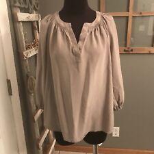Max Studio Women's Taupe Split V Neck 100% Silk Career Dress Tunic Blouse Top XS