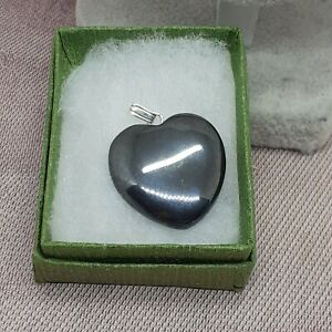 Hematite -Sterling Silver 925- HEART-Courage-Protection-Grounding-Gift Box