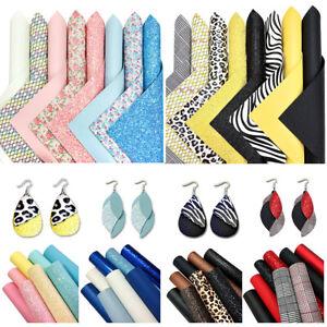 8pcs Glitter Fabric Faux Leather A4 Sheets Leatherette Bundle Bows & Earrings