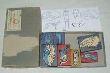 Lot de 7 tampons Scolaires anciens PIERRON + boite, chat et chien  SCRAPBOOKING