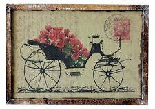Quadro carrozza floreale targa tabella legno stampa su juta shabby chic vintage