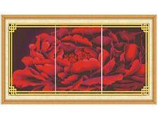"""Peony flower"" Triptych  counted cross stitch kits"