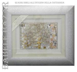 L'ALBERO DELLA VITA KLIMT QUADRO ARGENTO cm23x33 ORO LEGNO cm53x62 MADE IN ITALY
