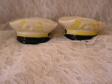 Vintage Navy Sailor Nautical Ocean Hat Cap Salt & Pepper Shaker Figural Set CUTE