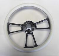 "70-77 Mercury Comet Cougar Montego Marquis Steering Wheel 14"" White Shallow Dish"