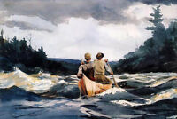 """Art Oil painting impressionism seascape canoe-in-the-rapids & waves canvas 36"""""""