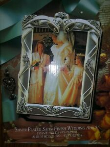 Silver Plated Wedding Photo Frame/Album 4x6 Gift Godinger Satin Finish.