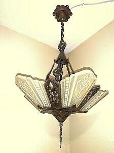 Vintage Art Deco Slip Shade Glass 5 Light Fixture Virden Chandelier