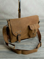 Vintage Schulter Tasche College Crossbody Messenger Bag  echt Leder Braun 958B