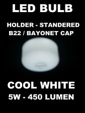 5 X Flat LED GLS Bayonet Cap Cool White 5W B22 435 Lumen for Home, Office, Shop