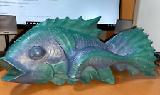 "Pier 1 Imports Painted Wood Vintage Fish Decorative 13.5 "" W x 6"" Height"