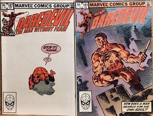 Marvel DAREDEVIL #s 187 191 Comic Book FN- Frank Miller Lot