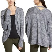 Athleta Draped Pose Wrap Open Cardigan Gray Long Sleeves Sweater Womens XL
