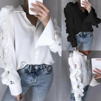 Women Ladies Victorian Shirt Frill Lace Puff Sleeve OL Party Tops Blouse UK 8-26
