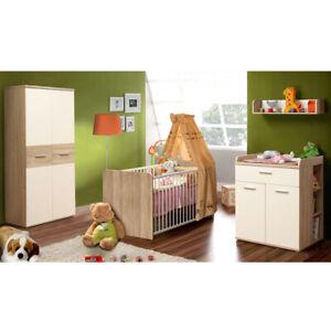 Babyzimmer Winnie 7-tlg Set Sonoma Eiche und weiß Babybett Wickelkommode Schrank