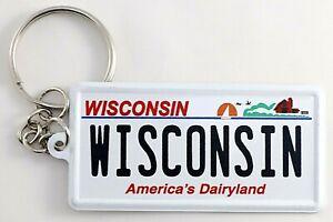 "Wisconsin License Plate Aluminum Ultra-Slim Souvenir Keychain 2.5""x1.25""x0.06"""