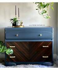 Vintage 1930's Gray Blue Art Deco Waterfall Tallboy Dresser Chest of Drawers