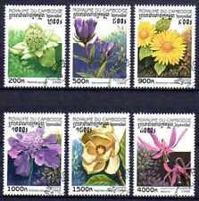 Flore - Fleurs Cambodge (28) série complète de 6 timbres oblitérés