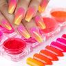 8 Boxes Nail Art Glitter Neon Powder Dust Bright Chrome Pigment Decoration DIY
