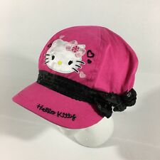 HELLO KITTY SANRIO PINK CAP HAT BLACK SEQUINS ANIME CARTOON