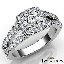 Round Cut Diamond Engagement Halo Prong Set Ring GIA E SI1 18k White Gold 1.25Ct