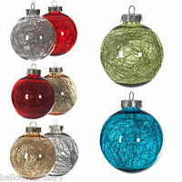 4 x Luxury Christmas Clear Tinsel Filled Shatterproof Baubles Tree Ornaments