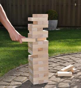 XXL Wackelturm 44cm Stapelturm Geschicklichkeitsspiel Stapelspiel Holz Turm
