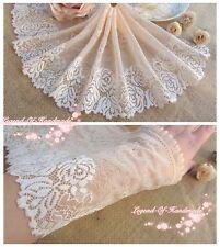 "7""*1Y Elastic Stretch Floral Lace Trim~Ruffled~Cream Pink/Beige Pink~Rose Allure"