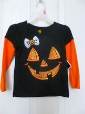 Halloween Pumpkin Girls Shirt, Black & Orange, Size 2T,  NWT,  C6