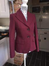 Jigsaw Ladies Burgundy Red Wool Jacket/coat Size 10 Rrp £175