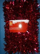 RED TINSEL GARLAND 15 FEET VALENTINE'S DAY DECOR GARLAND INDOOR NEW HOME HOLIDAY