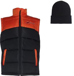 PULSE ADULT WINTER WARM BODY WARMER GILET ORANGE & BLACK + FREE BEANIE HAT!