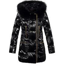 a2575327435b4 Vogue Womens Slim Padded Down Coats Glossy Hooded Black Puffer Jacket Fur  Ske15
