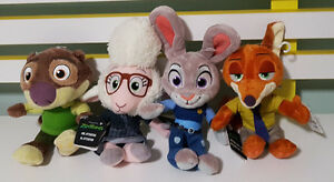 4 DISNEY ZOOTOPIA CHARACTER TOYS WITH TAGS! NICK WILDE JUDY HOPPS SHEEP OTTER!
