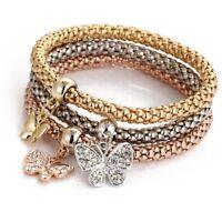 3Pcs/set Elegant Crystal Butterfly Elastic Bracelets Bangles Women Charm Gift