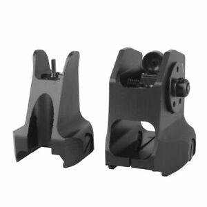 Low Profile Flip-up Metal Tactical Sight Folding Iron Sight Front + Rear Set UK