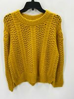 Madewell Womens Size S Small Yellow  Cable Knit Crew Neck  Sweater