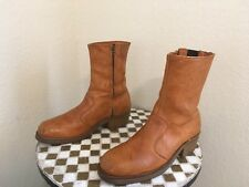 steel toe DOUBLE H DISTRESSED ZIP UP VINTAGE HIPSTER DISCO BOOTS 8 D