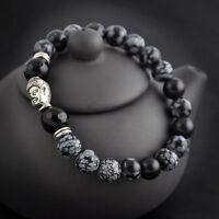 Fashion Natural White Spot Stone Bead 8mm Silver Plated Buddha Luckyman Bracelet
